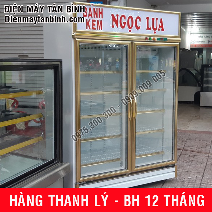 Tủ mát cũ trưng bày bánh kem 2 cánh cửa Đài Loan